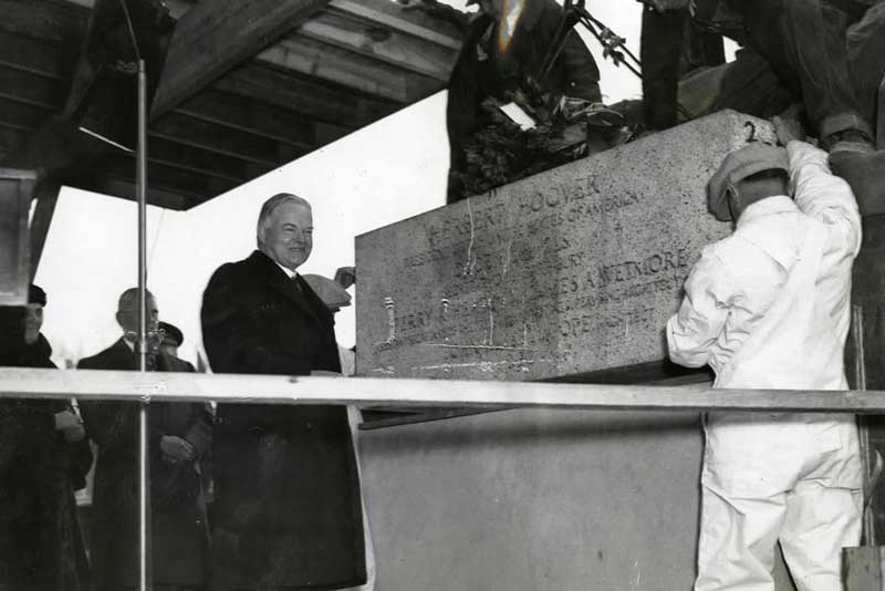 President Hoover laying the cornerstone of the new National Archives building in Washington, DC, Feb. 1933