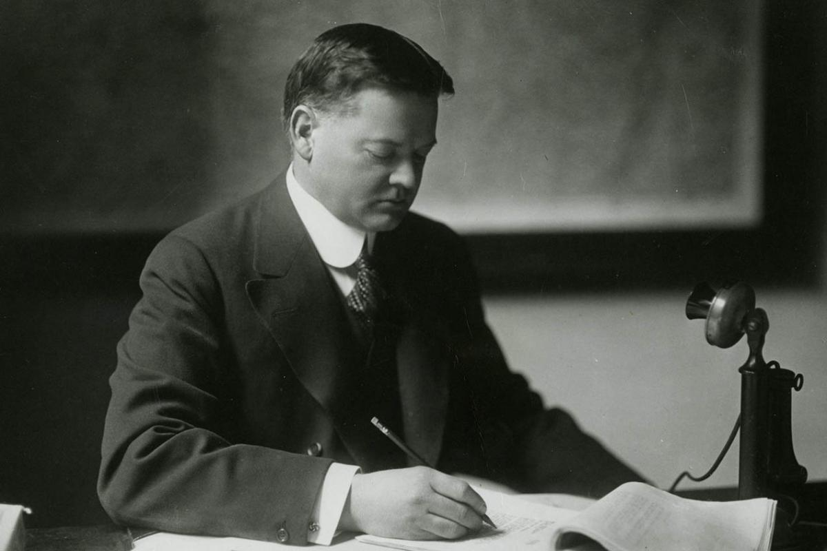 Secretary of Commerce Herbert Hoover, this photograph was used during his presidential campaign of 1928.