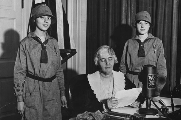 First Lady and Girl Scout Lou Henry Hoover speaking from the President's study in the White House on a special Girl Scout program.