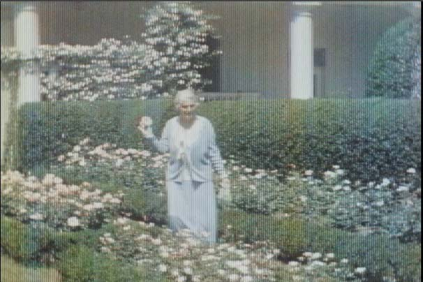 Early color movies of the White House, First Lady Lou Hoover in the gardens.