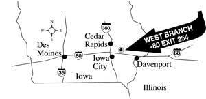 Line map of Iowa showing the location of the Herbert Hoover Presidential Library-Museum