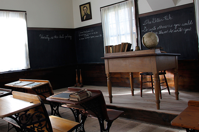 Interior of the School House on the grounds of the Hoover National Historic Sit.